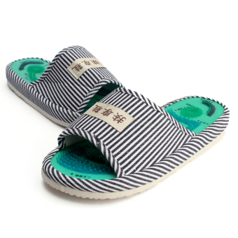 Men Acupoint Massage Foot Health Care Slippers Striped Indoor Shoes Blue