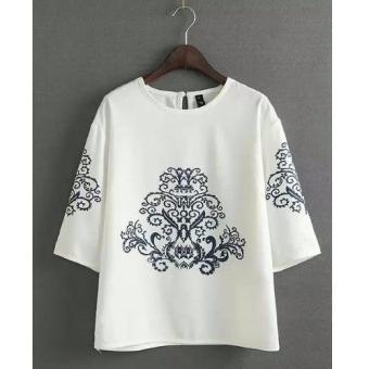 Kyoko Fashion Tunics Ricci White WIKIPRICE Source · Kyoko Fashion Atasan Wanita Blouse Sasa YU White