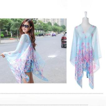 Harga LALANG Chiffon Shawls Scarf Pearl Button Floral Print Sunscreen Scarf (Light Blue) - intl