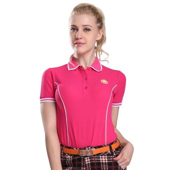 Outdoor Ladies' Golf Polo Short T-shirt(Rose red) - Intl