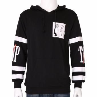 Harga Hequ Fashion New Twenty One Pilots Big Logo Hooded Male Streetwear Hip Hop Long Kangaroo Hoodies Clothing Black - intl