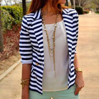 Harga Yika Women Stripe Slim Blazer (Blue+White) - intl