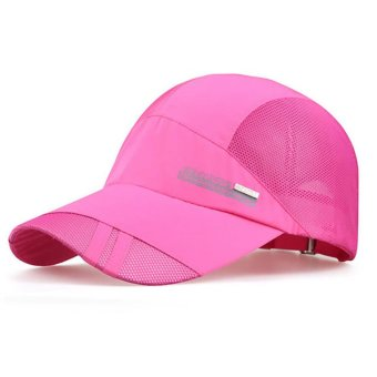 Harga Men Women Plain Baseball Cap Hip-Hop Trucker Mesh Visor Adjustable Snapback Hat (Hot Pink)