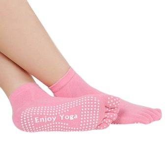 PAlight anti slip 5 jari-jari kaus kaki Yoga (Berwarna Merah Muda)