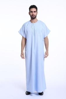 Harga Muslim Arab Middle East man's robes Jubahs short sleeve men's New style islamic clothing - Sky blue - intl