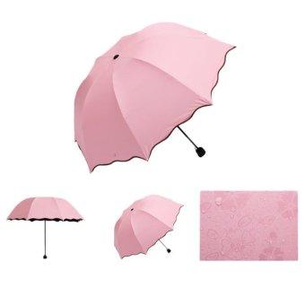 Lady Princess Magic Flowers Dome Parasol Sun/Rain Folding Umbrella Light Pink - Intl