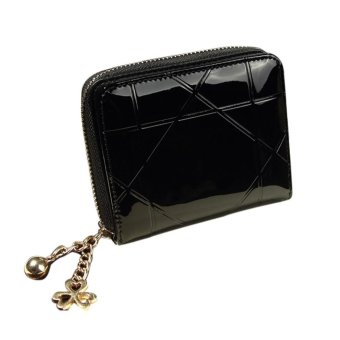 Harga Fashion Women Leather Zipper Short Small Bifold Card Holers Wallet Black - intl