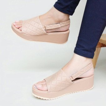 Harga Beauty Shop Wedges Shop Platform - Cream