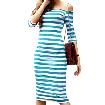 Harga Amart Casual Striped Color Block Slim Half-Sleeve One-Piece Dress Women's Dress - intl