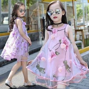 Gaun untuk anak perempuan gaun renda gaun tanpa lengan baju musim panas Viole anak-anak