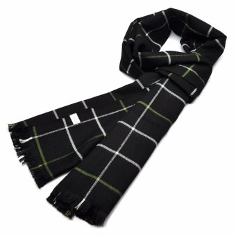 Harga GX Fashion Black &Amp Whtie &Amp Green Plaids Scarf - intl