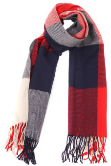 Harga HANG-QIAO Plaid Knitting Scarf (Red/Blue)