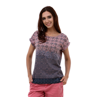 Harga Esprit Floaty Printed T-Shirt In A Cotton Blend - Dark Old Pink