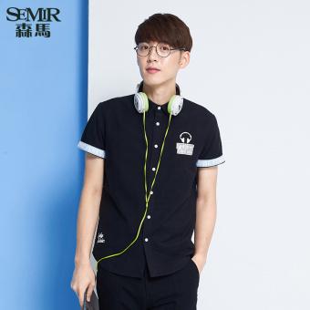 Semir summer new men plain short-sleeved shirt (Charcoal)