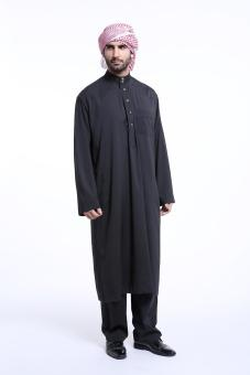 Harga Men's trousers long-sleeved Muslim men's robes Arab youth fashion costume - black - intl