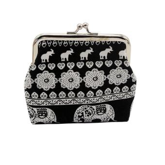 Harga ashion Women Canvas Lady Wallet Elephant Floral Purse Clutch Bag Black - intl