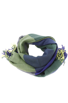 Harga LALANG Plaid Knitting Scarf (Blue/Green)