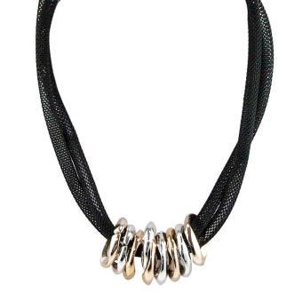 Ofashion Aksesoris Kalung XX CA 1702K014 Modern Necklace Accessories Panjang 57 Cm Hitam .