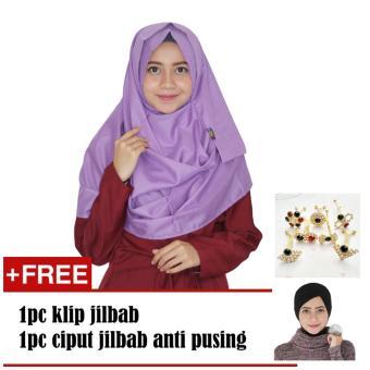 paket parisku hijab pashmina instant katun premium amira purple