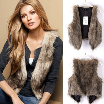 Harga Low Price Faux Fur Vest Gilet Waistcoat Hot Brown - intl