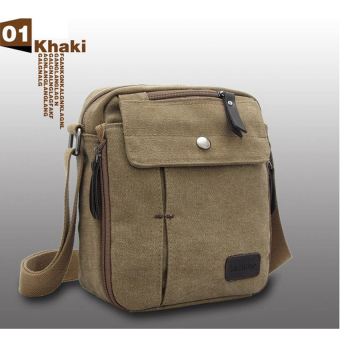 Harga Shimon Men Messenger Bag Canvas Vintage Shoulder Crossbody Bags Outdoor Travel Bag (Khaki)