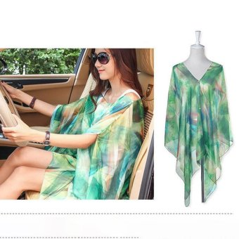 Harga Hang-Qiao Chiffon Shawls Scarf Pearl Button Sunscreen Clothing Scarf (Green) - intl