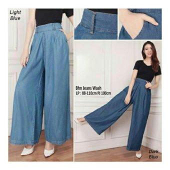 168 Collection Celana Kulot Jeans Nanda Long Pant-Biru Tua