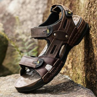 Harga CYOU Men's Leather Athletic Sport Sandal Flats Shoes (Brown) - intl