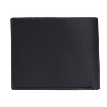 Harga Men Leisure PU Leather Short Wallet Business Card Holder Purse(Black) - intl