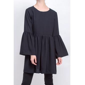 Harga Cotton Bee Apparel Loura Ruffle Blouse - Black Jade