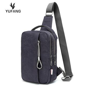 Harga Lan-store Premium Quality Chest Bag--YUFANG Canvas Chest Pack Two Zipper Men Messenger Bags Leisure Small Crossbody Bag (Navy) - intl