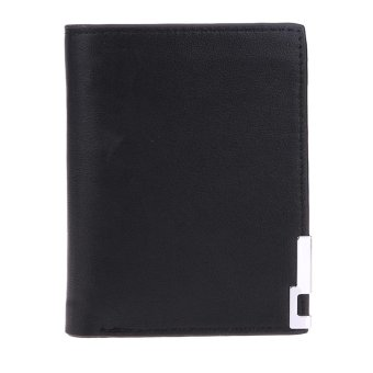 Harga Men PU Leather Short Vertical Wallet Card Holder Purse with Metal Edge(Black) - intl