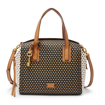 Harga Fossil Emma Satchel Dancing Diamonds ZB6906P - Black and white