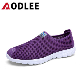 Harga AODLEE Women Fashion Casual Shoes Mesh Sneakers Couple Breathable Flats Purple - intl