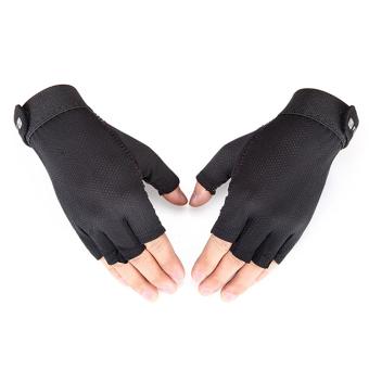 Oh Sepeda Bersepeda Bernapas Olahraga Luar Ruangan Silikon Bersepeda Finger Gloves Half Hitam