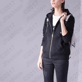 Harga Jfashion Women's Hoodie Jacket With Zipper - Novi Hitam