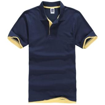 Men's Polo ShirtShort Sleeve Golf Tennis Shirt(Navy blue+yellow) - intl
