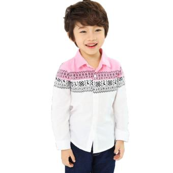 Harga Cutevina - Ready PO Boy Fashion Pink Shirt Motif Batik / Kemeja Anak 3-9th (BC17006)