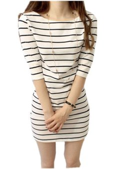 Harga Yidabo Women Half-sleeve Striped Casual Over Hip Slim One-piece Dress (White) - Intl