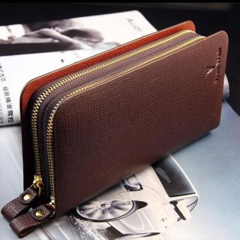Harga Men's Leather Bifold ID Card Holder Zip Wallet Clutch Brown - intl