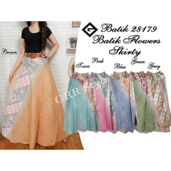 Harga Rok payung batik flower 28179 , G-rock , (pink , blue , green , tosca , abu , brown).