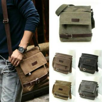 Harga Men Messenger Bag Canvas Shoulder Bags Outdoor Travel Bags Crossbody Bag Tas Pria Selempang (BLACK)