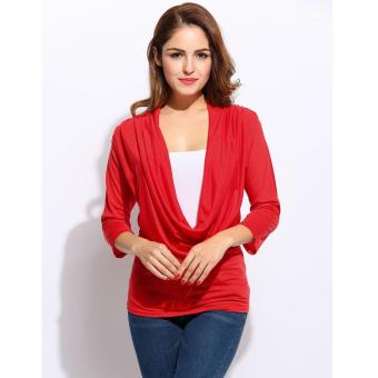 Harga Yika Women Cowl Neck 3/4 Sleeve T-Shirt - intl