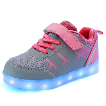 Harga Sepatu Anak LED Cahaya Loafers Girl Anak laki-laki Sepatu/Children's Shoes LED Light Loafers Girl's Boys Shoes Pink