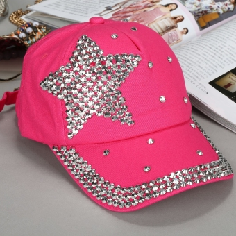Harga Yika Kids Star Shaped Rhinestone Baseball Cap (Rose Red) - intl