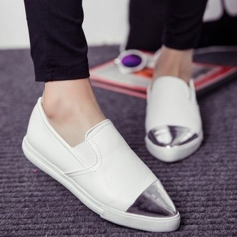Harga Khalista Collection Women Flat Shoes Metal Pointed Toe Slip On Loafers Casual Women Shoes Low-heeled Shoes Women - Putih