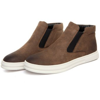 Harga Men's fashion high-heel boots slip-on ankle boots