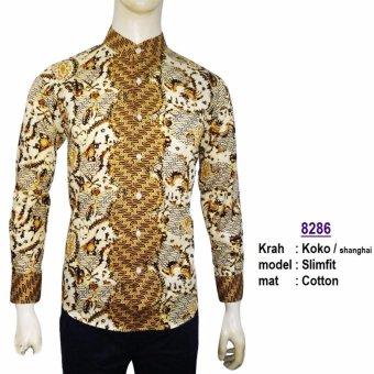 Kemeja Koko Pria Slimfit 8286 Batik Kombinasi Muslim Jeans