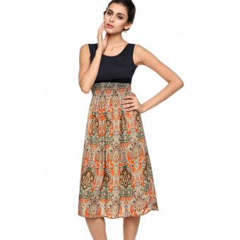 Harga Yika Womens Sleeveless Bohemian High Waist Long Dress (Orange)