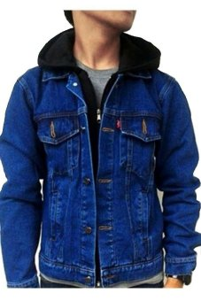 Harga Brain Wash Jaket Denim Hoodie - Blue Navy